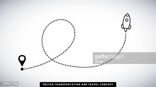 rocket line path vector design. transportation and travel concept. - copy space stock illustrations