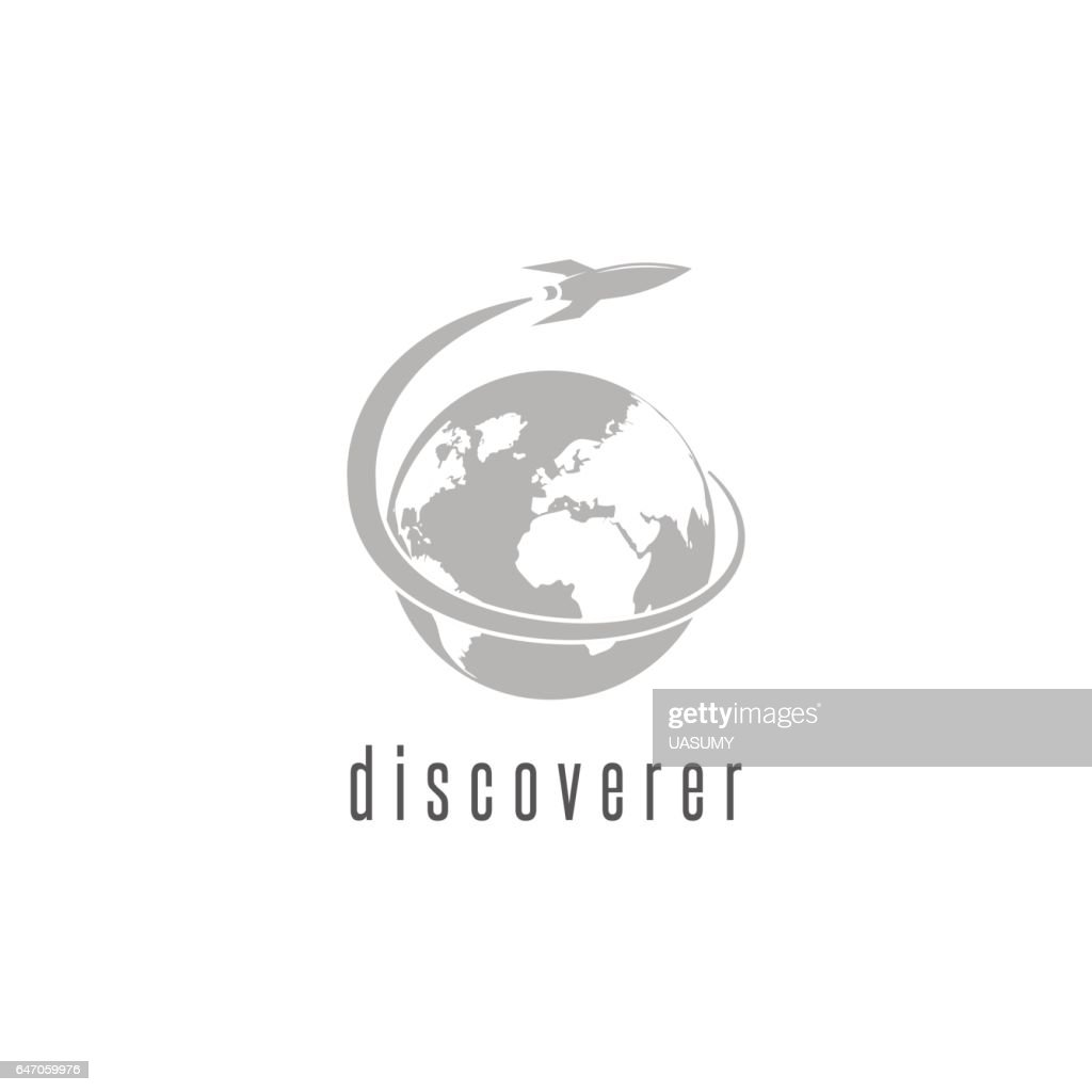 Rocket logo world discovery space shuttle spaceship, International Day Human Space Flight emblem
