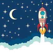 Rocket on the moon background, vector illustration
