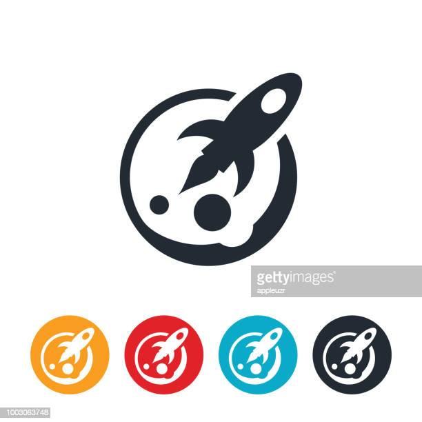 rakete und planeten-symbol - stapellauf stock-grafiken, -clipart, -cartoons und -symbole