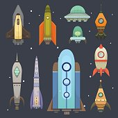 Rocket ship in cartoon style. New Businesses Innovation Development Flat Design Icons Template. Space ships illustrations set.