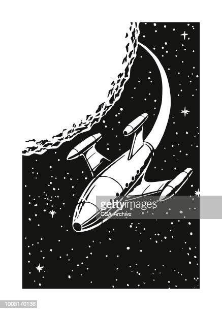 illustrazioni stock, clip art, cartoni animati e icone di tendenza di rocket ship in outer space - missile razzo spaziale