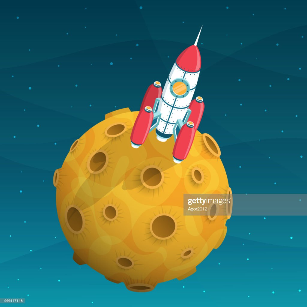 Rocket space ship is on yellow planet with craters