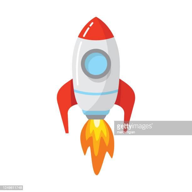 illustrazioni stock, clip art, cartoni animati e icone di tendenza di rocket space ship launch - missile razzo spaziale