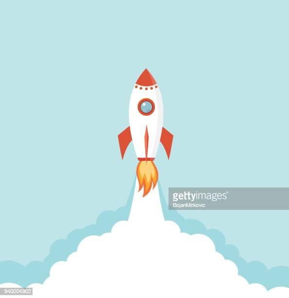 illustrazioni stock, clip art, cartoni animati e icone di tendenza di rocket spaceship launch. start up creative business idea. vector illustration. - missile razzo spaziale
