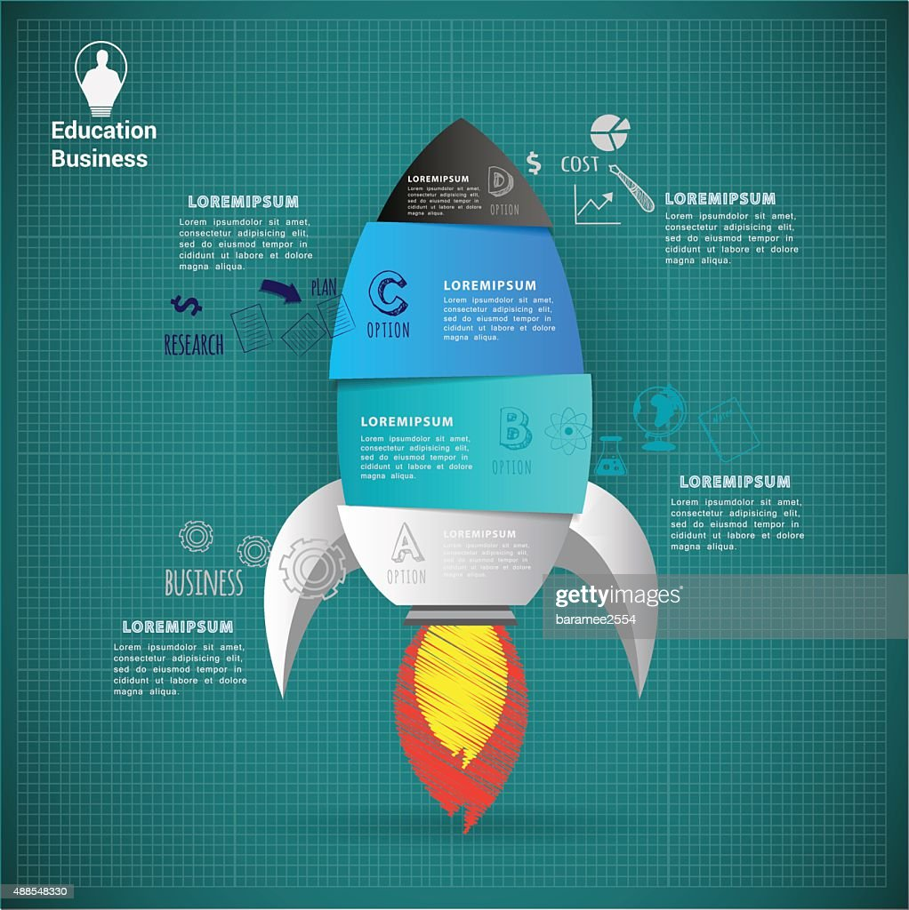 Rocket start up abstract vector infographic.