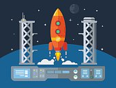 Rocket Startup Flat Desing Concept