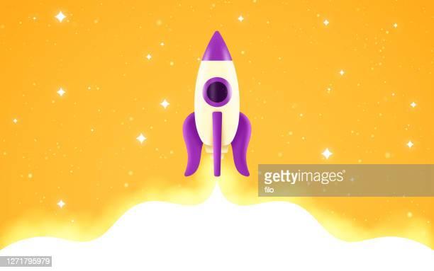 rocket taking off banner - ship launch stock illustrations