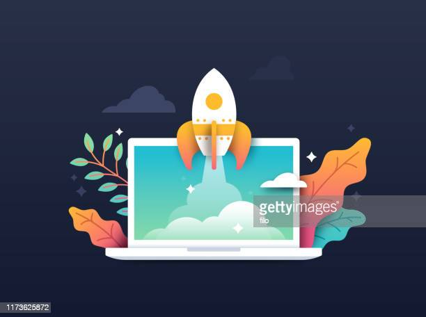 rocket taking off from computer laptop - launch event stock illustrations