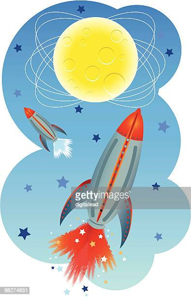 rocket to outer space - vapor trail stock illustrations, clip art, cartoons, & icons