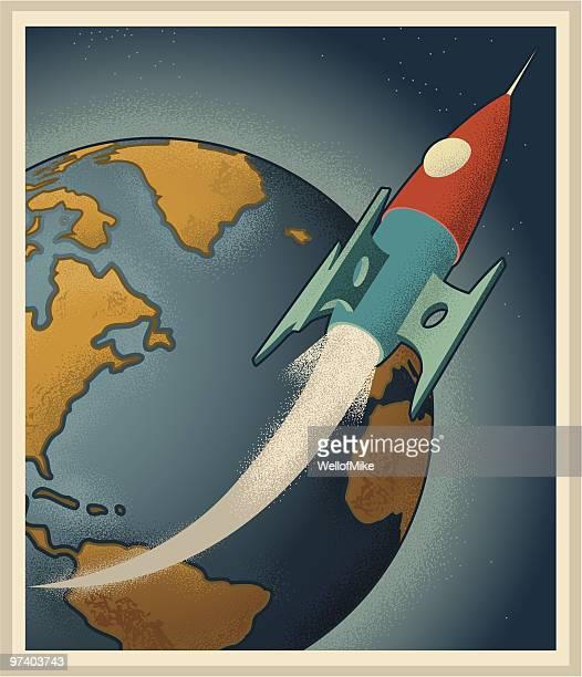 illustrazioni stock, clip art, cartoni animati e icone di tendenza di rocketship con il mondo in background - missile razzo spaziale