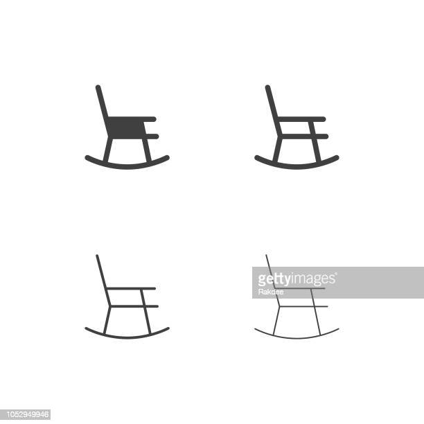 rocking chair icons - multi series - rocking chair stock illustrations