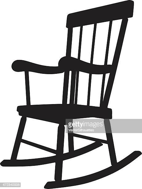 rocking chair silhouette - rocking chair stock illustrations