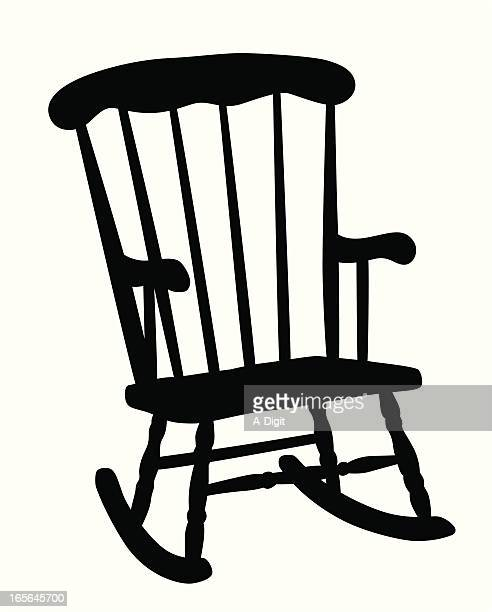 rocking chair vector silhouette - rocking chair stock illustrations