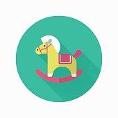 Rocking horse  icon , Vector flat long shadow design.
