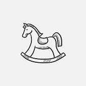 Rocking horse sketch icon