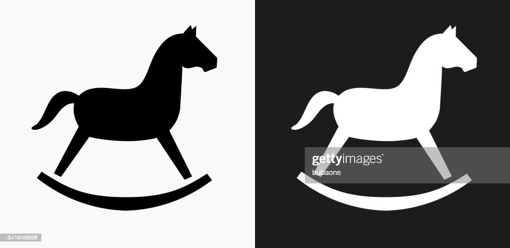 Rocking Horse Toy Icon on Black and White Vector Backgrounds