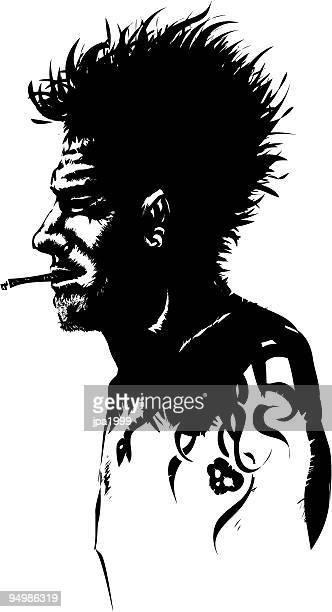 rock'n roll downhill - grimes musician stock illustrations