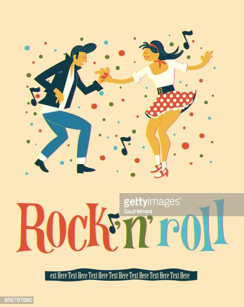 stockillustraties, clipart, cartoons en iconen met rock´n´roll dans - vaseline