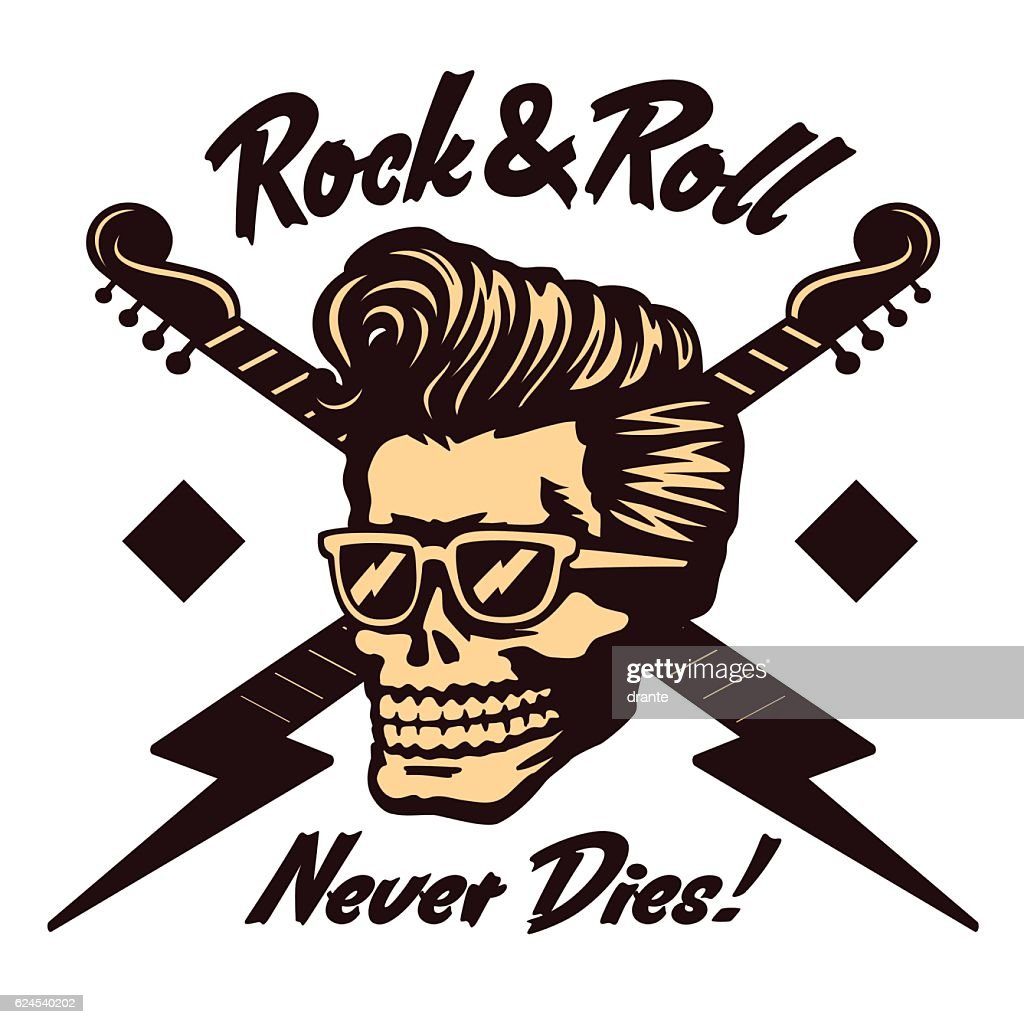 Rock'n'roll skull face with rockabilly pompadour haircut and sunglasses vector