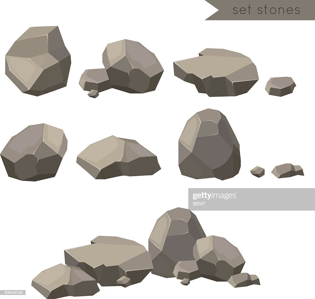 Rocks and stones single or piled for damage and rubble
