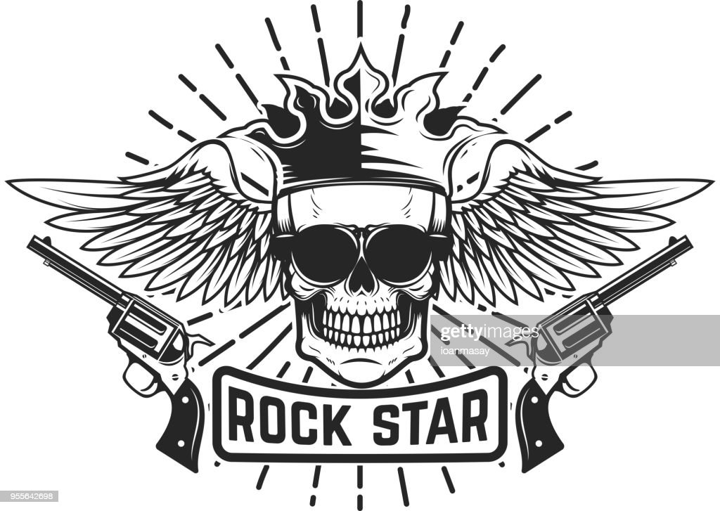 Rockstar. Winged skull with crown and guns. Design element for  label, emblem, sign.
