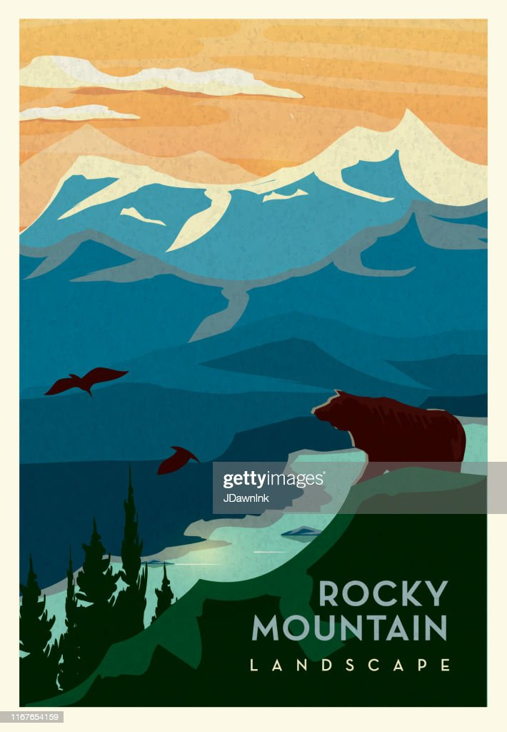 Rocky Mountain Landscape Clip Art