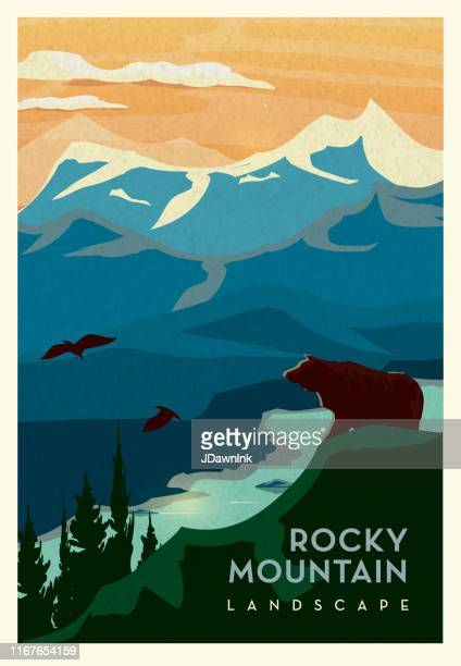 rocky mountain and cliff with grizzly bear and waterbed scenic landscape poster design with text - mountain stock illustrations