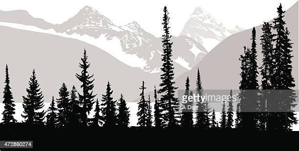 rocky mountain trees - treelined stock illustrations, clip art, cartoons, & icons
