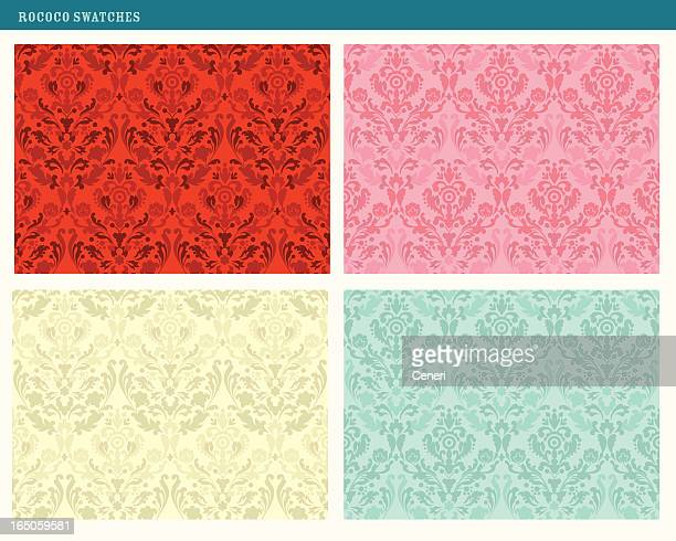 rococo damask patterns (tileable) - 18th century style stock illustrations