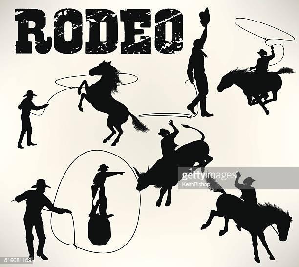 ilustrações de stock, clip art, desenhos animados e ícones de rodeio, cavalo selvagem arqueado, montar touros - rodeio