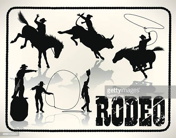rodeo - bull rider, lasso, cowboy clown - cowboy stock illustrations, clip art, cartoons, & icons