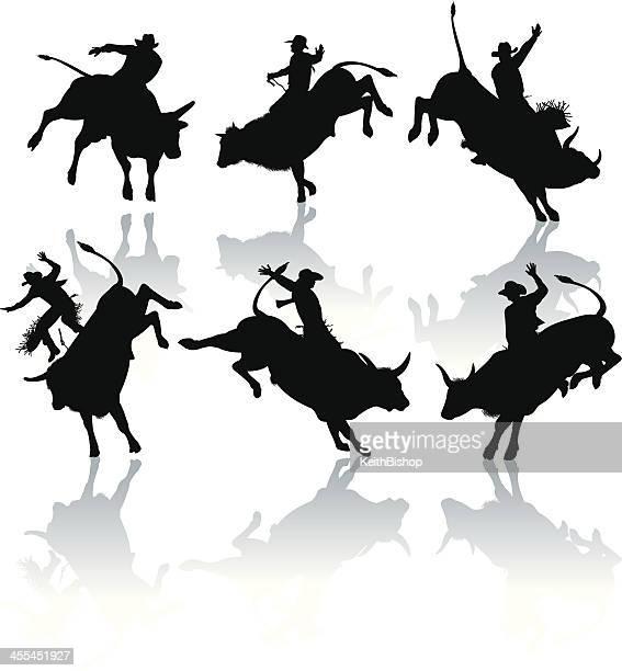 rodeo cowboy, bucking, bull riders - bull riding stock illustrations