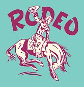 Rodeo Cowboy on Bucking Bronco