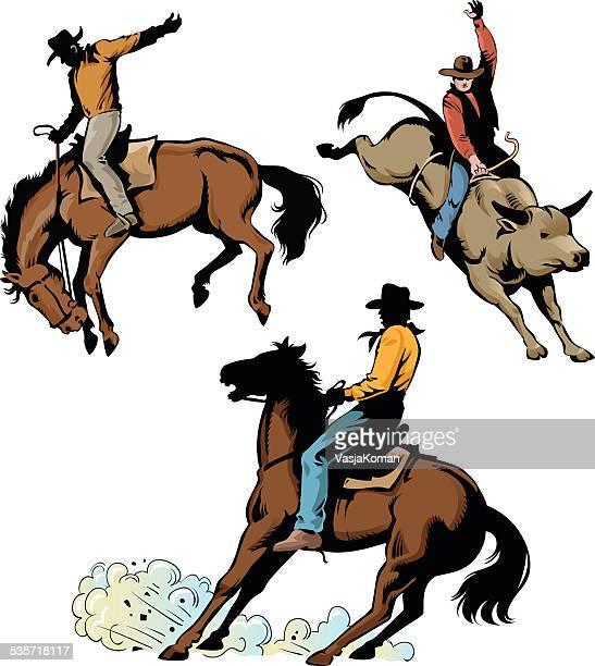 ilustrações de stock, clip art, desenhos animados e ícones de rodeio cowboys em acção - rodeio