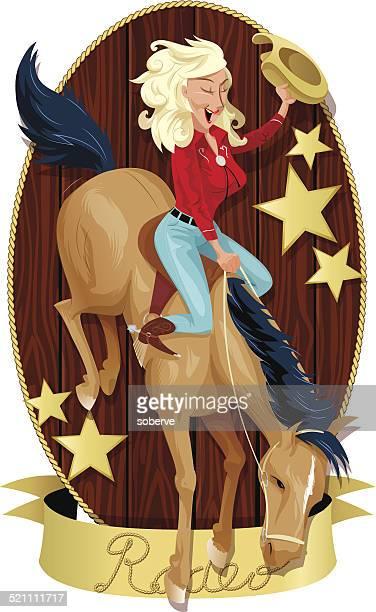 rodeo cowgirl - horseback riding stock illustrations, clip art, cartoons, & icons