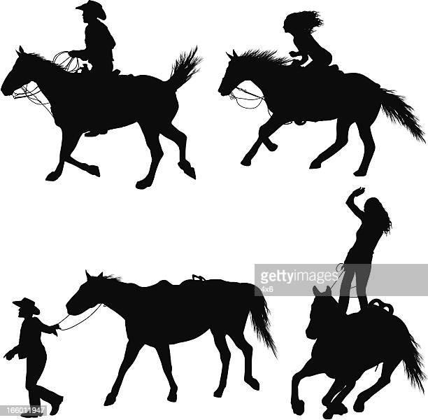 rodeo in action - bronco stadium stock illustrations