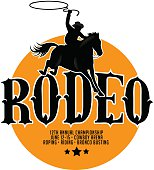 Rodeo poster design with copy space.