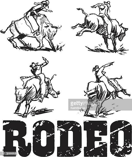 rodeo rider, bucking bronco - bull riding stock illustrations