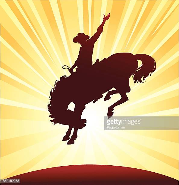 rodeo rider silhouette - cowboy stock illustrations, clip art, cartoons, & icons
