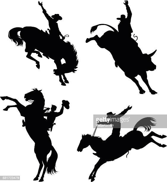 rodeo silhouettes set - horseback riding stock illustrations, clip art, cartoons, & icons