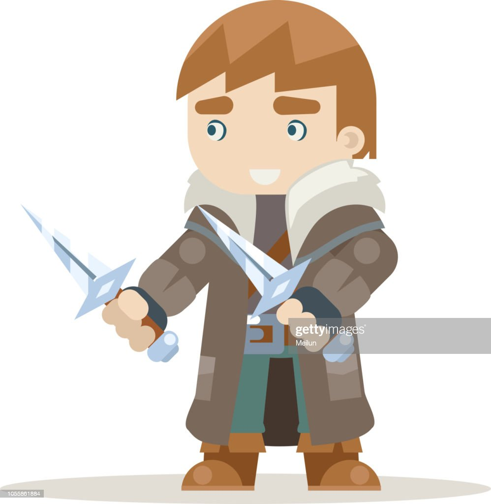 Rogue outlaw assassin thief burglar fantasy medieval action RPG game character layered animation ready character vector illustration