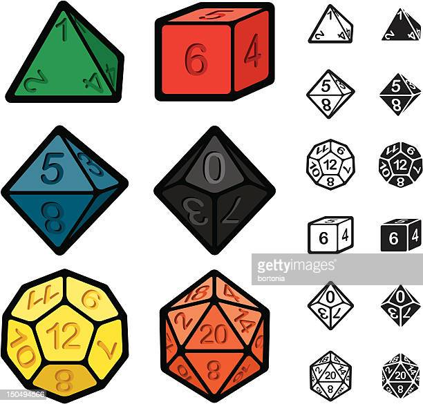 roleplaying games polyhedral dice set - dice stock illustrations