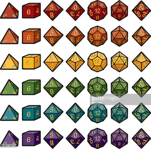 roleplaying polyhedral dice sets - dice stock illustrations
