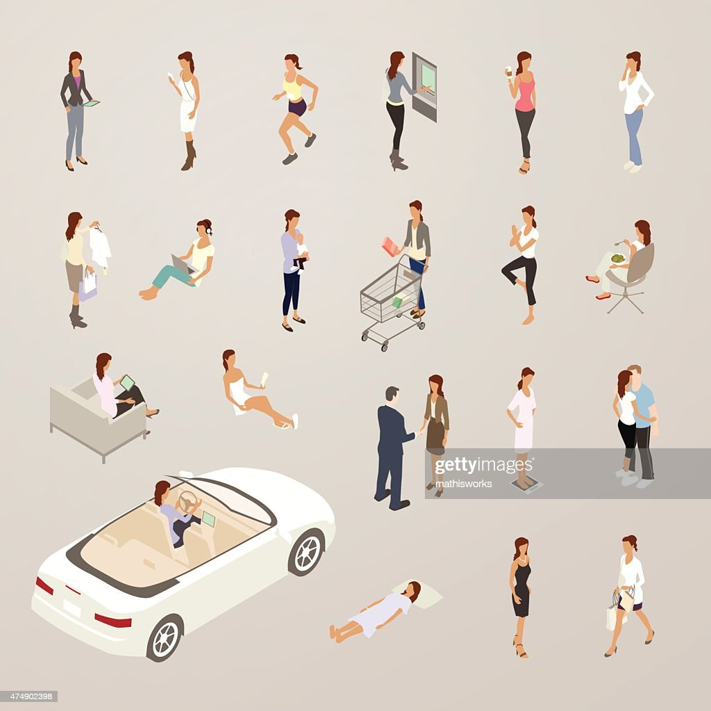 Roles of One Woman - Flat Icons Illustration : stock illustration