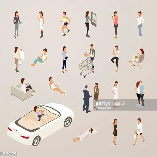 ilustraciones, imágenes clip art, dibujos animados e iconos de stock de roles de una mujer de iconos de plano medio - conductor oficio