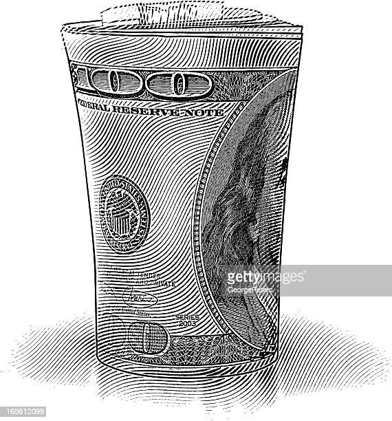 roll of $100 dollar bills - benjamin franklin stock illustrations, clip art, cartoons, & icons