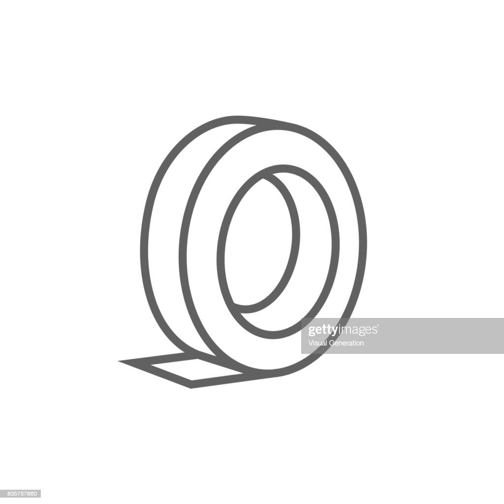 Roll of adhesive tape line icon