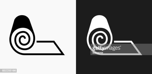 Roll of Fabric Icon on Black and White Vector Backgrounds