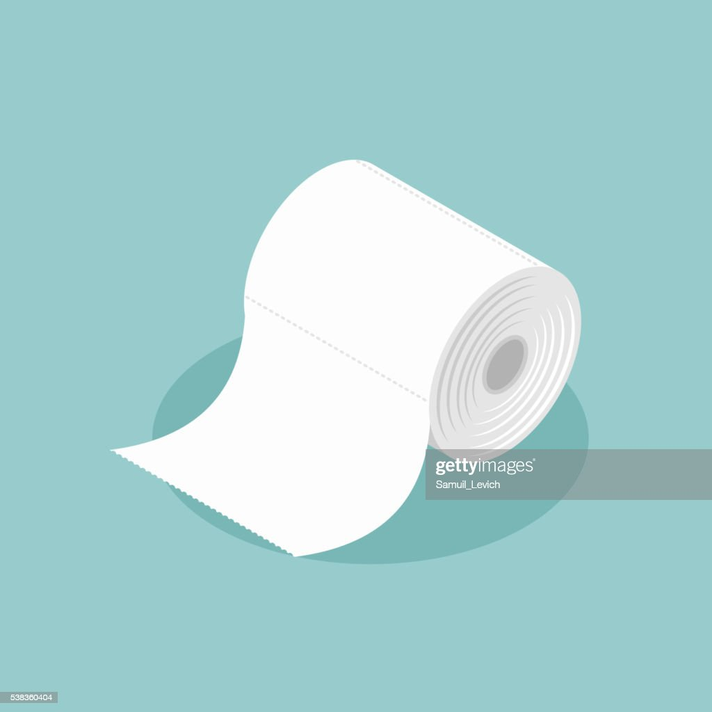 Roll of toilet paper isometrics. Special paper for wiping. paper